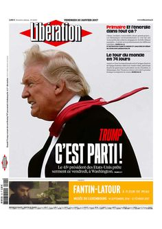"FRANCE - ""Let's go!"" the simple headline reads, with a small paragraph stating: ""The 45th president of the United States takes the oath Friday in Washington."""