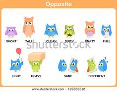 Opposite word for preschool (short, tall, clean, dirty, empty, full, light, heavy, same, different)