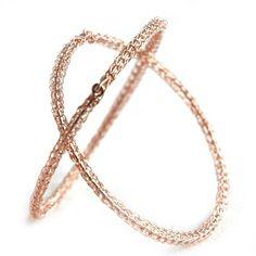 ROSE Gold crochet bangle bracelet - two bangles by YooLa