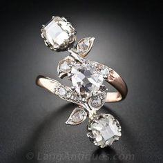 Antique Victorian Three-Stone Diamond Dinner Ring with 1.91 Carat Fancy Color Diamond