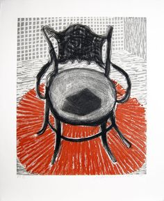 Chair with Book on Red Carpet, 1998, David Hockney