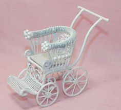 Dollhouse Miniature Baby Carriage Stroller White Vintage Style 1:12 scale I love it!