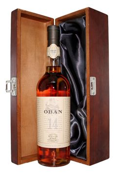 Oban Single Malt Scotch Whiskey With Luxury Hinged Stained Wooden Box Good Whiskey, Cigars And Whiskey, Scotch Whiskey, Bourbon Whiskey, Whisky Tasting, Whisky Club, Single Malt Whisky, Wine And Spirits, Bottle Design