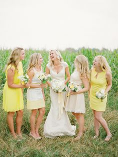 Yellow Bridesmaids Dresses | KT Merry Photography