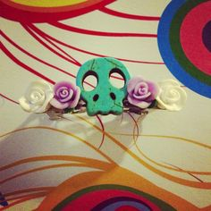 Day of the dead skull and rose barrette by QUEENBEADER on Etsy, $6.25