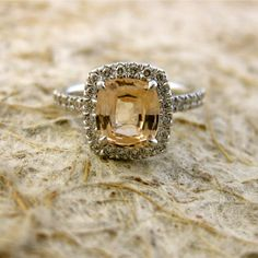 $2,990 ~~ Custom Made Cushion Cut Pastel Peach Champagne Sapphire Engagement Ring with Diamonds in 18K White Gold ~~ not sure I like those prongs though.
