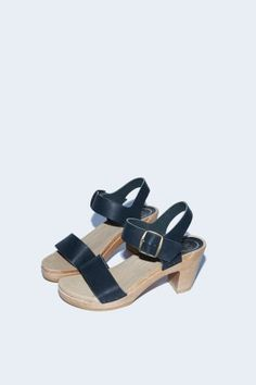 Two Strap Clog on High Heel in Coal