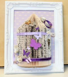 Unusual handmade gift personalised bird cage book fold art framed 10 x 8 (23)