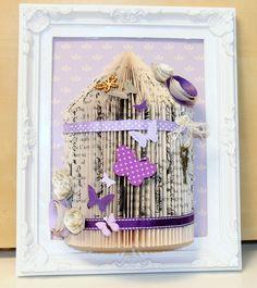 Unusual handmade gift personalised bird cage book fold art framed 10 x 8 (23)