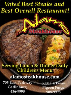 alamo steakhouse pigeon forge - one of my favorite places to eat in Pigeon Forge, TN! Gatlinburg Vacation, Gatlinburg Tennessee, Tennessee Vacation, Mini Vacation, Vacation Ideas, Pigeon Forge Activities, Pigeon Forge Tennessee, Mountain Vacations, Smoky Mountain