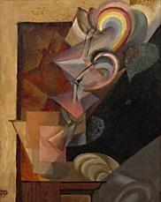 Antonín Procházka - Zátiší s ubrouskem III (1916) Cubism