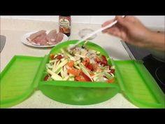 Pimientos asados en estuche de vapor Lekue - YouTube Salsa Teriyaki, Steam Recipes, Tupperware, Microwave, Food And Drink, Healthy Recipes, Healthy Food, Menu, Tacos