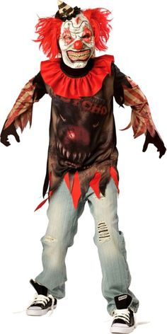 Boys Side Show Psycho Clown Costume - Party CityBoys Side Show Psycho Costume includes:      Mask with hair and hat     Collar     Shirt  For ages 6 and up. Costume #173  |  SKU: P446978 Price: $34.99