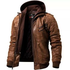 Brown Leather Motorcycle Jacket, Leather Jacket With Hood, Leather Jackets, Motorcycle Outfit, Men's Motorcycle Jacket, Motorcycle Fashion, Military Jacket, Mens Winter Coat, Winter Jackets