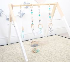 Mint Aqua marine Wood Baby Gym Toy Play Gym PlayGym Timber Wooden BabyGym Baby Centre