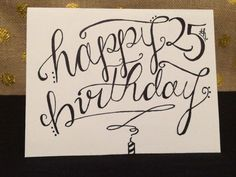 """Hand Lettered """"Happy Birthday"""" Card - 3x4 Inches on High Quality Matte…"""
