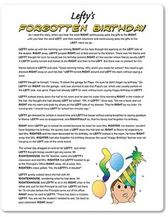 Printable Lefty's Forgotten Birthday