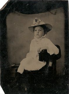 Antique Tintype Photo Girl with Straw Hat by TableauBotanique