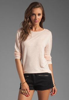 T by Alexander Wang Linen Silk Long Sleeve Tee in Blush. (Suggested item to recreate this working mom outfit idea: http://www.franticbutfabulous.com/2013/11/06/working-mom-outfit-idea-navy/)