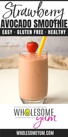 Strawberry Avocado Keto Smoothie Recipe with Almond Milk - 4 Ingredients - The best strawberry avocado smoothie recipe needs just 4 INGREDIENTS! You're going to love this low carb keto smoothie with almond milk. And, it's ready in a just a few minutes. #wholesomeyum #lowcarb #easy #smoothie #breakfast #keto Low Carb Smoothies, Easy Smoothies, Weight Loss Smoothies, Low Calorie Smoothie Recipes, Breakfast Smoothie Recipes, Fruit Smoothie Recipes, Smoothie Ingredients, Almond Recipes, Low Carb Recipes