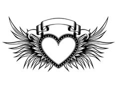 Abstract Vector Illustration Black And White Wings And Inscription Angel In The Gothic Style. Design For Tattoo Or Print T-shirt . Royalty Free Cliparts, Vectors, And Stock Illustration. Image 82944645. Illustrator, Heart With Wings, Clipart, Geometry, Royalty Free Stock Photos, Banner, Abstract, Frame, Hearts