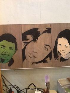 Stencil art on wood boards #green #streetcraftla