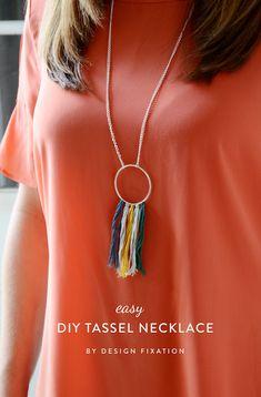 Design Fixation: How-To: Easy DIY Tassel Fringe Necklace
