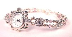 Beaded Watches: Swarovski Crystal Pearl Gemstone Bead Watch Bands