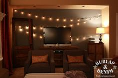 Vintage String Lights For Indoorsin The Living Room Draped From Mantle Or