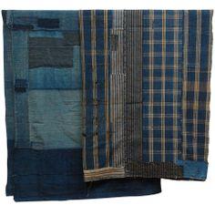 Japanese Indigo Cotton Boro Panels