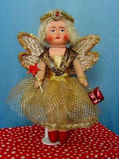 1930s Vintage/Antique 11  Papier Mache Shoulder Head Christmas Fairy Doll OOAK