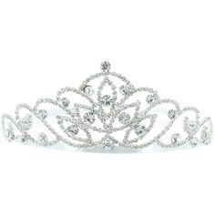 Kate Marie 'Alli' Silver Rhinestone Crown Tiara (510 MXN) ❤ liked on Polyvore featuring accessories, hair accessories, jewelry, crowns, tiaras, silver, filler, silver hair accessories, rhinestone crown and crown tiara