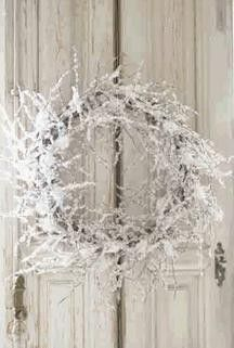 ♥ white twig wreath