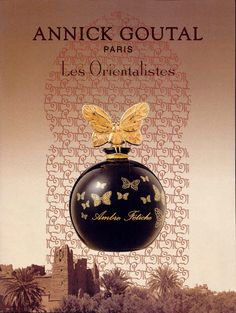 Les Orientalistes - Encens Flamboyant Annick Goutal. Top notes are incense, pink pepper, pepper and red berries; middle notes are nutmeg, incense, cardamom and sage; base notes are balsam fir, incense and mastic or lentisque.
