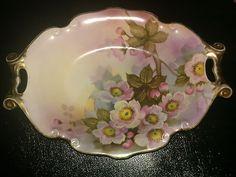 "Noritake ""M"" Dish Beautiful Double Handle Serving Dish Handpainted Vintage"