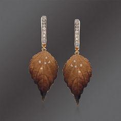 Simon G. .19 ct. t.w. Diamond Leaf Drop Earrings in 18kt Yellow Gold<31840<3