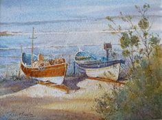 Cobles, Runswick by Yorkshire artist Robert Brindley who will be exhibiting at the 2014 Great Yorkshire Show - Yorkshire Agricultural Society Beach Art, Watercolor Art, Watercolour Paintings, Yorkshire, Seaside, Nautical, Coastal, Images, Scene