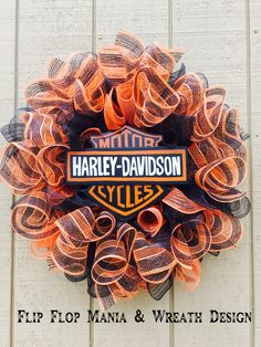 Harley Davidson wreath, orange and black deco mesh wreath, Flip Flop Mania & Wreath Design