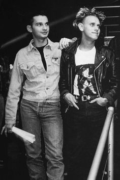 Depeche Mode - Dave Gahan+Martin Gore (I love Martin's t-shirt and leather jacket - super 90's)