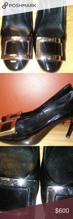 """Iconic Belle Vivier Black Patent, Trompette Heel Clean, Pre owned fabulous 3.5"""" high steppers! Fantastic Condition. Iconic Shoe. Silver Buckle. Vibram sole. Had foot petals inside. Beautiful! Roger Vivier Shoes Heels"""