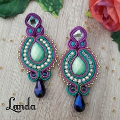 Macrame Jewelry, Fabric Jewelry, Boho Jewelry, Women Jewelry, Shibori, Earrings Handmade, Handmade Jewelry, Soutache Necklace, Black Earrings