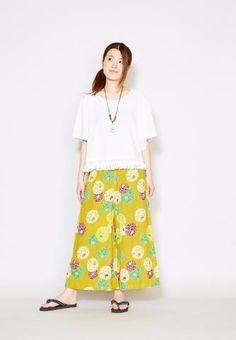 Casual Wide Leg Print Pants - Women Bottoms - Ametsuchi