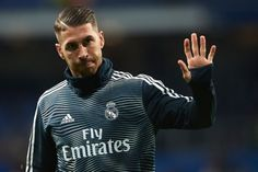 Sergio Ramos of Real Madrid warms up prior to the La Liga match. Soccer Players, Real Madrid, Motorcycle Jacket, Hair Cuts, Warm, Jackets, Men, Hairstyles, Fashion