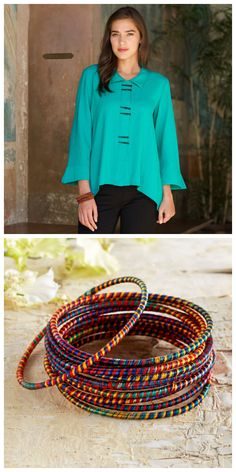 Spring is all about finally welcoming in bursts of color. Pair a relaxed shirt with bright bracelets for an ensemble symbolic of the season.