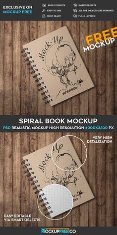 Free Spiral Book PSD Mockup | Free PSD Templates | #free #photoshop #mockup #psd #spiral #book