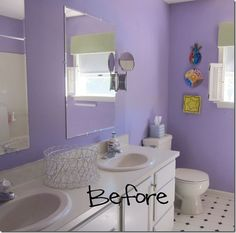 Purple Bathroom before