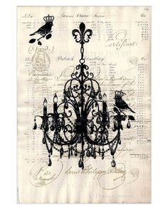 Vintage Chandelier & French Script Art Print. Original Art printed on Antique Paper by The Decorated House at Etsy.