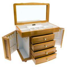 73de30384 Mele Co Ida Burl Oak Finish Wooden Jewellery Box 106: Amazon.co.uk: Kitchen  & Home