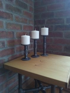 "INDUSTRIAL CANDLE HOLDER Water / Gas Iron Pipe - Quality Bespoke - Dark Grey 3/4"" Malleable Metal - Size Options"