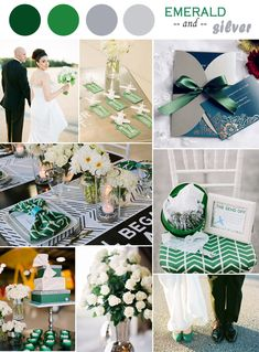 """Modern Classic Emerald and Silver Wedding Color Ideas and Invitations// Use coupon code """"CVB"""" to get 10% off towards all the invitations. #elegantweddinginvites"""